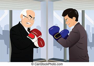 combat, concept, deux, business, hommes affaires