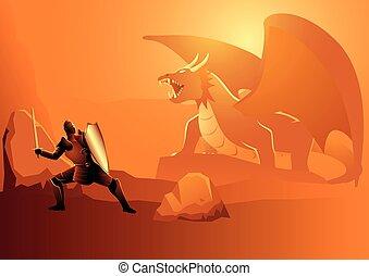 combat, dragon, chevalier