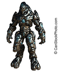 Combat Droid, isolated on white - Futuristic science fiction...
