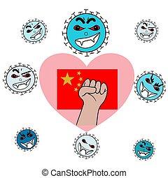 combat, everybody, chinois, coronavirus, amour