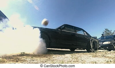 Combat grenade. Explosion of a military grenade
