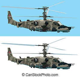 Combat helicopter - Vector isolated combat helicopter on...