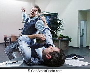 combat, hommes affaires, bureau