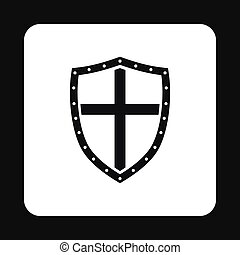 Combat shield with cross icon, simple style