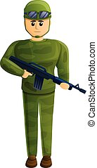 Combat soldier icon, cartoon style