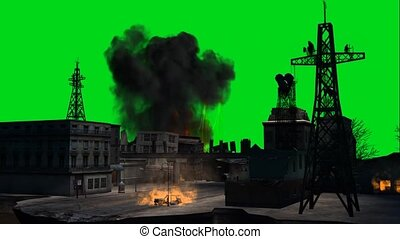combat stage city explosion - green screen