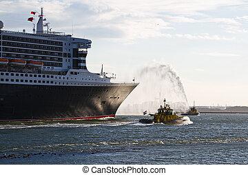 combat tir, eau, pulvérisation, jets, bateau
