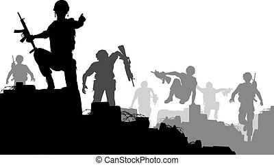Combat troops - Editable vector silhouettes of armed...