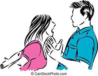 combat, vecteur, homme, couple, illustration, femme