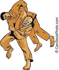 combatants, frente, judo, tiro, aguafuerte