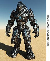 combate, droid, en, paisaje del desierto