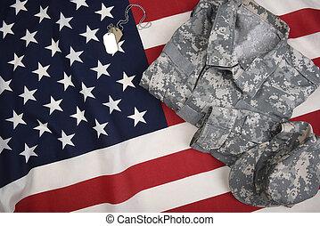 combate, etiquetas, cão, bandeira, uniforme, americano