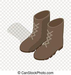 combate, militar, botas, isométrico, icono