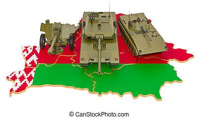 combate, vehículos, concepto, defensa, map., belarus, interpretación, 3d, militar, belorussian