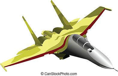 combate, vetorial, aeronave