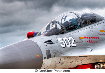 combattant, air, poste pilotage