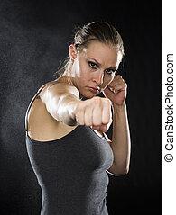 combattant, combat, pose, contre, femelle noire