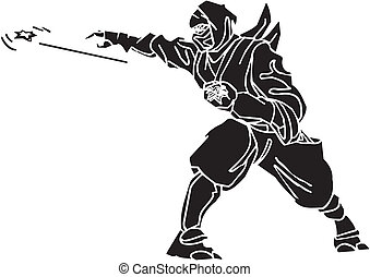 combattant, illustration., -, vecteur, vinyl-ready., ninja