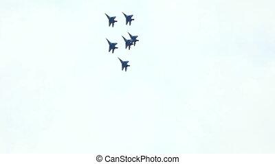 combattant jet, exposer, équipe, mouche, dans, formation