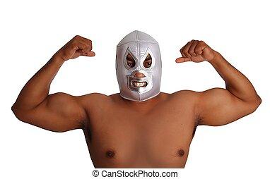 combattant, lutte, masque, mexicain, argent, geste