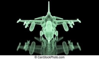 combattant, maille, avion jet