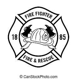 combattente, fuoco, resque, n, :, distintivo
