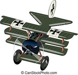 combattente, isolato, aereo, retro, bianco, cartone animato