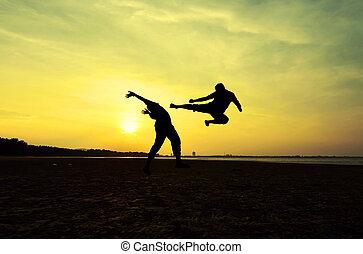 combattimento, un, nemico, appresso, il, spiaggia, quando, il, sole, va, giù