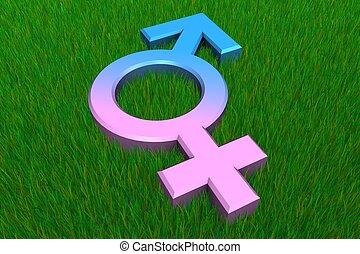 combiné, male/female, symbole, sur, herbe