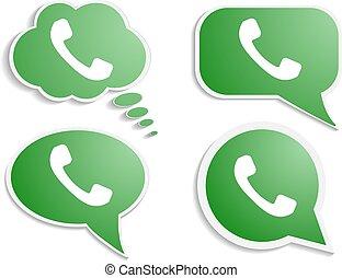 combiné, téléphone, parole, vert, bulle, icône