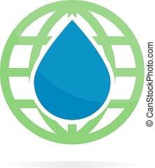 combinação, água, vetorial, logotipo, terra, ou, ícone