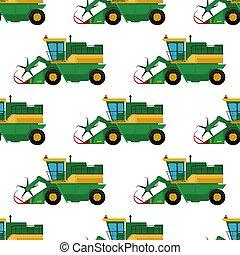 combina, industrial, illustration., fazenda, padrão, seamless, tratores, equipamento, vetorial, escavadores, maquinaria, fundo, agricultura