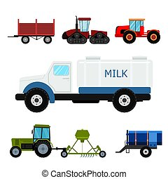combina, industrial, illustration., fazenda, tratores, equipamento, vetorial, escavadores, maquinaria, agricultura