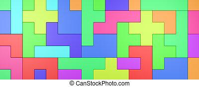 combinado, blocos, coloridos, fundo, 3d