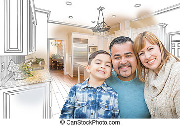 combinaison, photo famille, sur, jeune, course, mélangé, dessin, cuisine