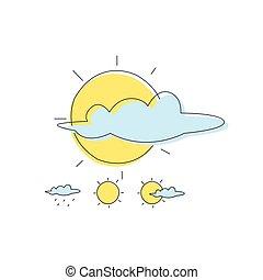combinaisons, soleil, temps, nuage, prévision