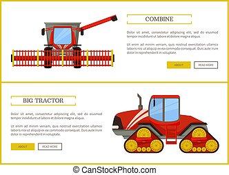 combinar, vetorial, agricultura, trator, ilustração