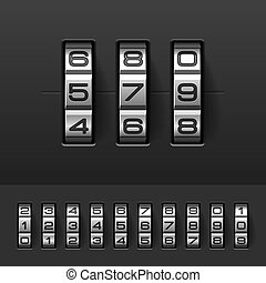 Combination, code lock numbers illustration
