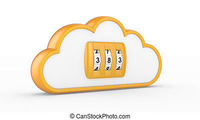 Security concept. Combination lock and cloud. 3D image on white