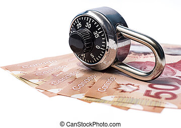 Combination lock and money