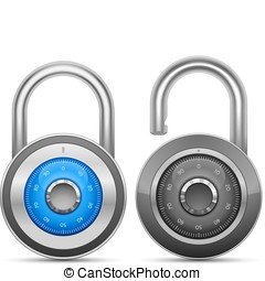 Combination Lock Collection. Security Concept. Vector...