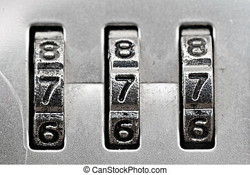 Combination Lock dials - Macro of combination lock - dials...