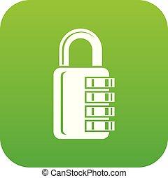 Combination lock icon green vector
