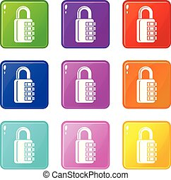 Combination lock icons set 9 color collection isolated on...