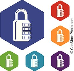 Combination lock icons vector hexahedron - Combination lock...