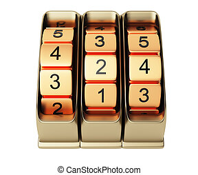 combination lock isolated on white background. 3d rendered image