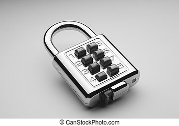 lock - combination lock on the plain color background