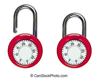 Combination Lock Open and Locked