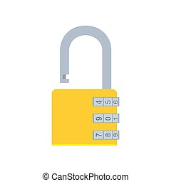 Combination lock padlock vector icon security safe illustration protection code symbol. Steel safety password privacy secure