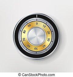 Combination Lock, Realistic Metal Vector Illustration. Safe Lock